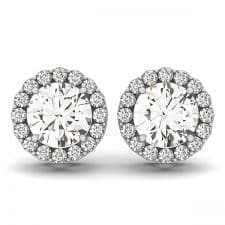 White Gold Round Brilliant Halo Diamond Stud Earrings
