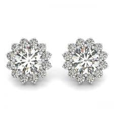 White Gold Round Brilliant Floral Halo Diamond Stud Earrings