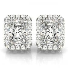 White Gold Emerald Cut Squared Halo Diamond Stud Earrings