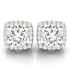 White Gold Round Brilliant Squared Halo Diamond Stud Earrings