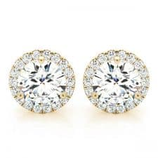 Yellow Gold Round Brilliant Halo Diamond Stud Earrings