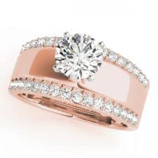 Wide Rose Gold Diamond Engagement Ring