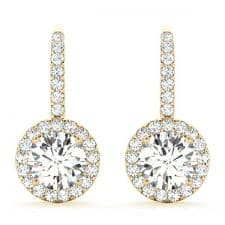 Yellow Gold Round Brilliant Halo Drop Diamond Set Earrings