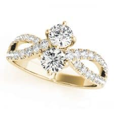 Yellow Gold Diamond Two Stone Ring